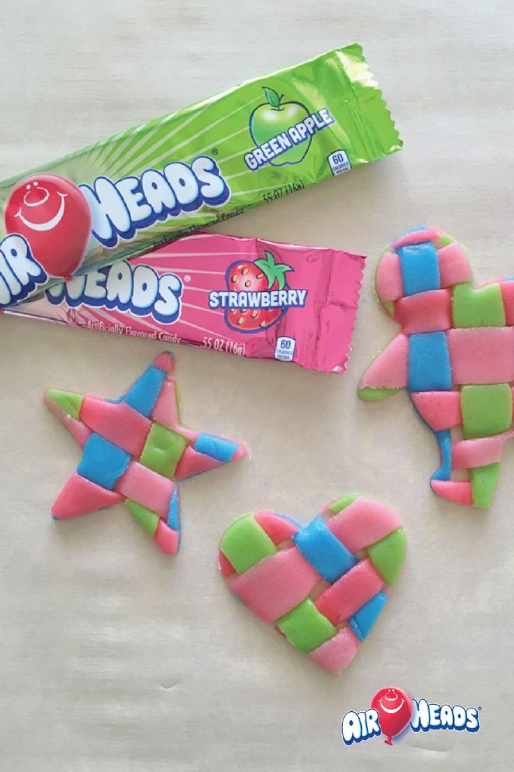 Airheads candy is a great tool to use when making edible crafts! Easily weave together different flavors of Airheads and cut out your favorite shapes for a kid-friendly and delicious custom candy dessert.