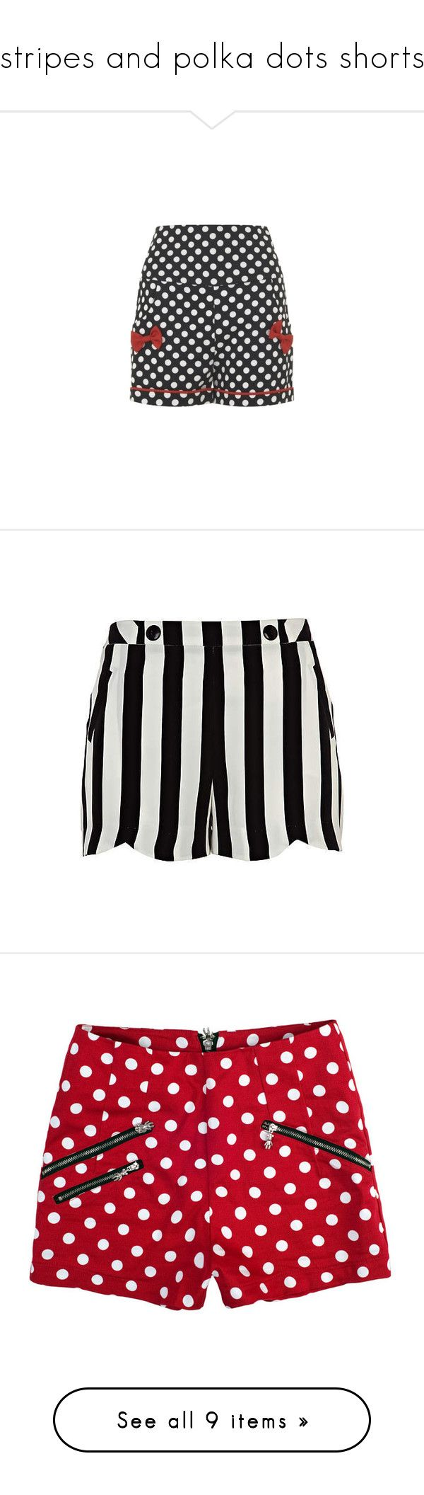 """stripes and polka dots shorts"" by aphroditiesdream ❤ liked on Polyvore featuring shorts, bottoms, river island, river island shorts, pants, short, red, print shorts, short shorts and cotton shorts"