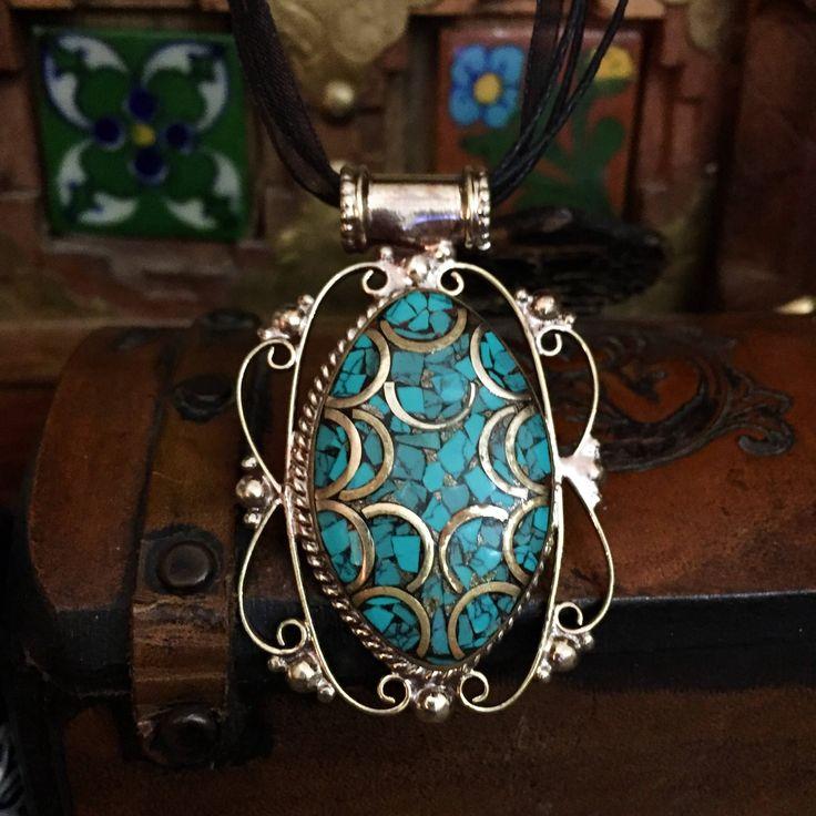 Turquoise - ethnic - pendant -  necklace - raw stone jewellery -Tibetan jewelry  - ethnic becklace - bijoux ethniques by Omanie on Etsy