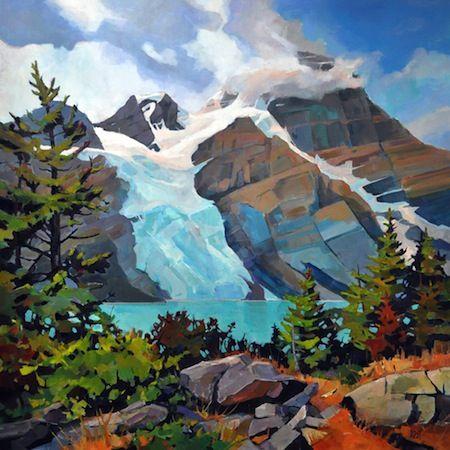 "'Berg Lake'  48"" x 48"" Acrylic on Canvas by Randy Hayashi"