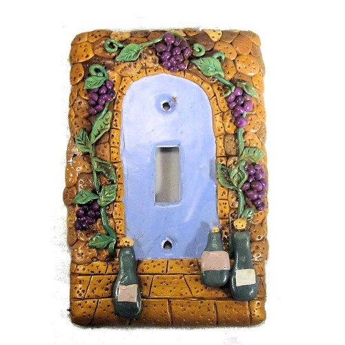 polymer clay covered wine cellar switch plate cover