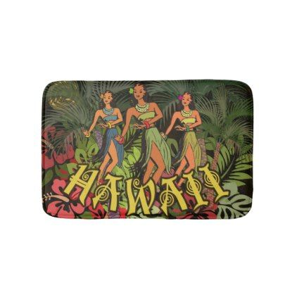 #Tropical Bath Mat Hawaii Art Print Hula Palm - #Bathroom #Accessories #home #living