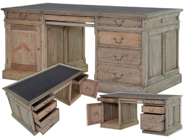 Colonial Reclaimed Pine Partner's Desk with PU Inlay RCMD056