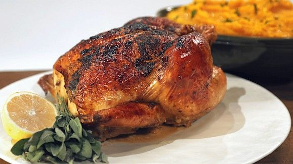 Michael Symon's 60 Cloves of Garlic Capon with Pumpkin Mash