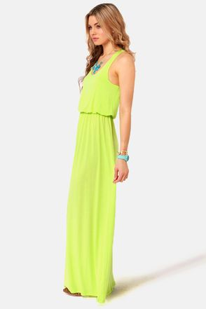 Neon Yellow Dress - Maxi Dress - Racerback Dress - $39.00
