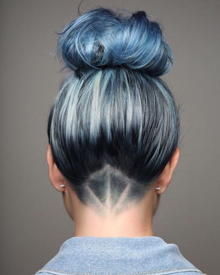 Denim hair undercut
