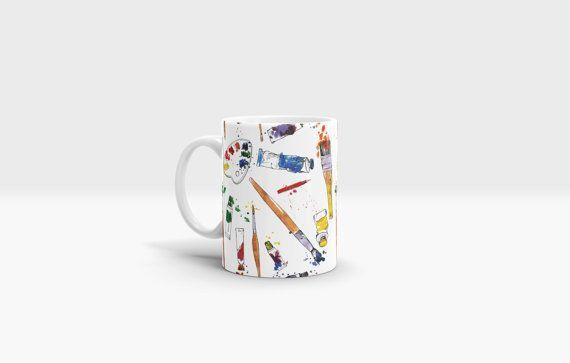 Paint and Brushes Mug. 11oz Ceramic Mug. by NJsBoutiqueCo on Etsy