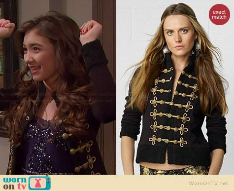 Riley's black military jacket on Girl Meets World.  Outfit Details: http://wornontv.net/36070/ #GirlMeetsWorld