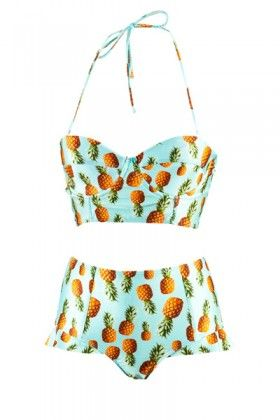 molly and polly Big Pineapple Aqua Frill Brief #mollyandpolly #swimsuit
