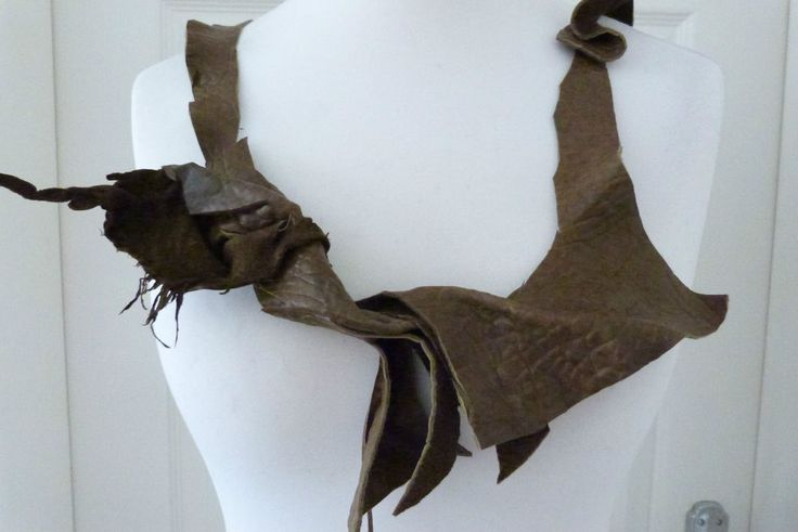 gorgeous ZUZA BART contemporary leather applique neck scarf one off