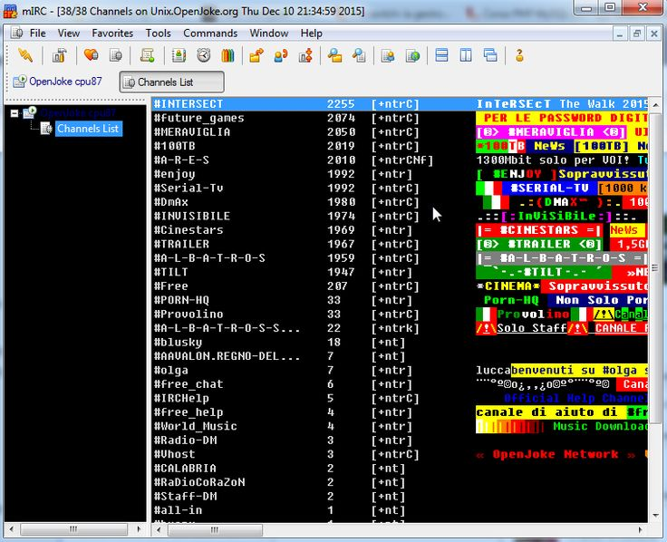 mIRC è un client IRC per Windows rilasciato con licenza shareware permette di accedere a dei server di chat