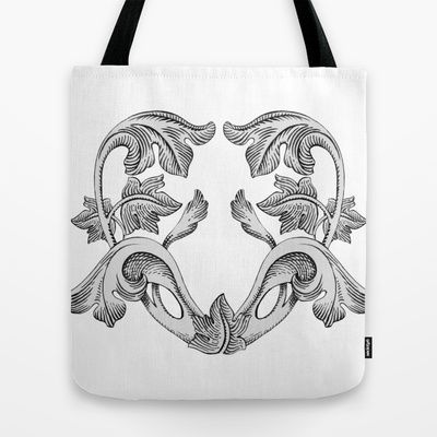 GREAT LOVE B & W Tote Bag by Chicca Besso - $22.00