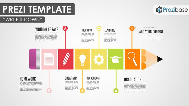 Prezi Template with a pencil shape formed from colorful rectangular blocks. A good template for a creative, educational or school related Prezi. Create a timeline, present homework or teamwork projects.