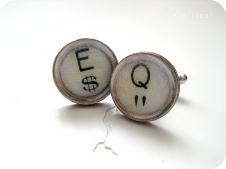 Gorgeous typewriter cufflinks in creamy colors ♥ From Devious Darlins'..