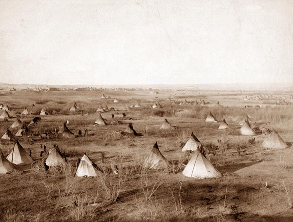 Pine Ridge Indian Reservation | Sioux village in the Pine Ridge Indian reservation. Taken in 1891.