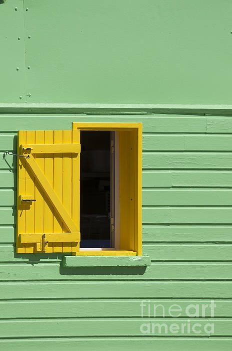 """Green Wall and Yellow Window Art Photography. From """"Wall and Windows lines"""" Photo Series"""