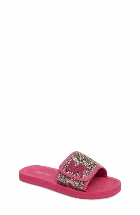 47dfe5137782 MICHAEL Michael Kors Eli Glow Glitter Slide Sandal (Toddler