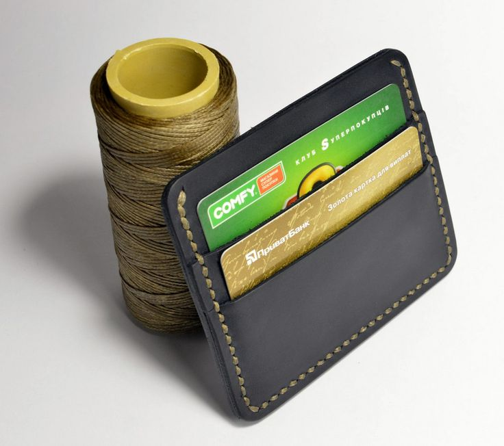 Leather card holder, Dark Blue credit cardholder wallet mens or womens with bill compartment