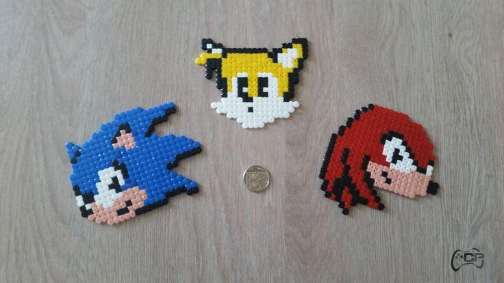 Hama Bead SEGA Sonic, Knuckles & Tails Fridge Magnets | UK Seller by ChillPadUK on Etsy
