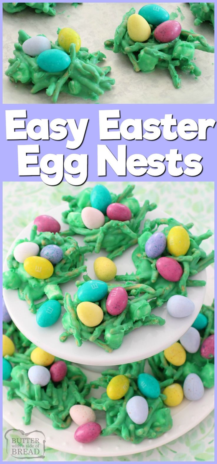 Fun & festive Easter Egg Nests recipe using white chocolate, marshmallows and chocolate eggs of course! Simple dessert recipe by Butter With A Side of Bread  via @ButterGirls