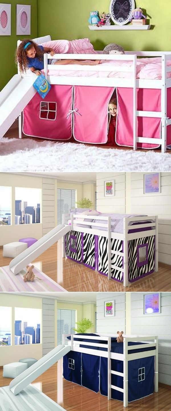 Loft Bed with Slide in White.  Tent under Loft comes in pink, blue, red, purple zebra, red polka dot or camouflage.   Can fit a twin mattress underneath to use as a bunk bed with slide. See more at https://www.customkidsfurniture.com/collections/kids-bed-with-slide