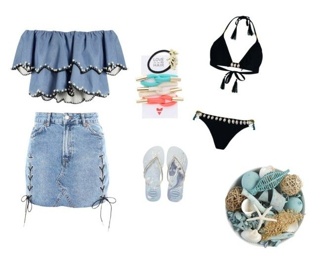 """""""feeling bluesss"""" by nanaristha on Polyvore featuring Pier 1 Imports, Topshop, HUISHAN ZHANG, Hipanema, Havaianas, Love Is in the Hair and WithChic"""