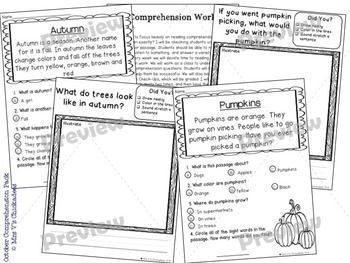 Reading Comprehension Passages & Questions: OCTOBER