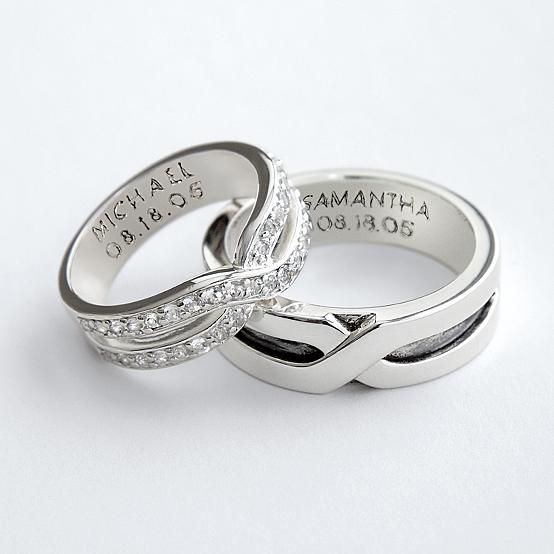 i like the engraved rings idea couples rings based on the ancient belief that a vein in the fourth finger connects directly to the heart - Wedding Rings For Her And Him
