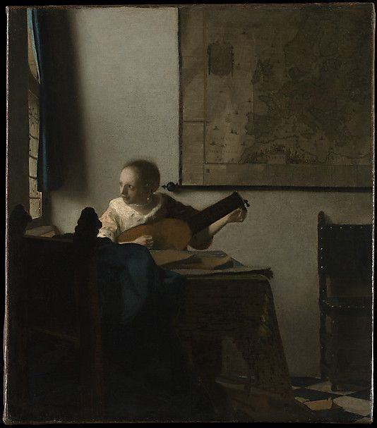 Johannes Vermeer (Dutch, 1632–1675). Woman with a Lute, ca. 1662–63. The Metropolitan Museum of Art, New York. Bequest of Collis P. Huntington, 1900 (25.110.24) | In this work of the early 1660s, a young woman in an ermine-trimmed jacket plays a lute and looks intently out the window. The viola da gamba on the floor and songbooks on the table suggest that she may be waiting for a male visitor.