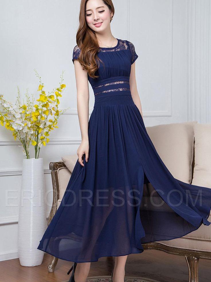 Ericdress Solid Color Lace Patchwork Split Expansion Maxi Dress Maxi Dresses