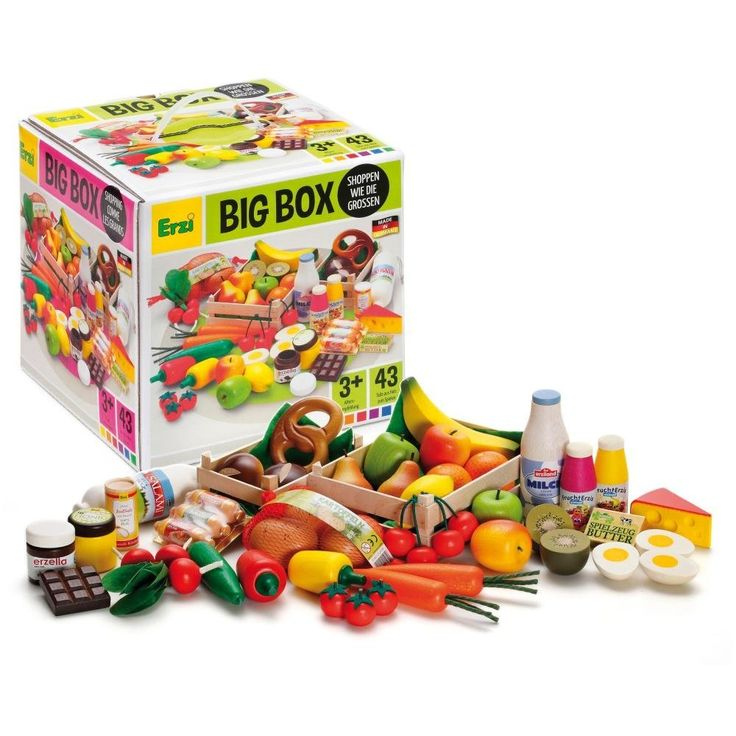 Erzi Kaufladenzubehör, Holzobst, Holzgemüse, Holzlebensmittel, Kaufladensortierung, 43 Teile aus Holz: Amazon.de: Spielzeug