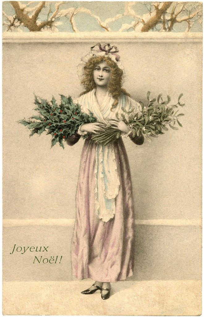 Lady with Holly and Mistletoe Image - The Graphics Fairy