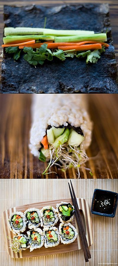 Vegetable Sushi Roll. You'll Need: short grain brown rice nori avocado cilantro carrots cucumber sprouts green onion sesame seed tamari lemon siracha wasabi and sesame oil.