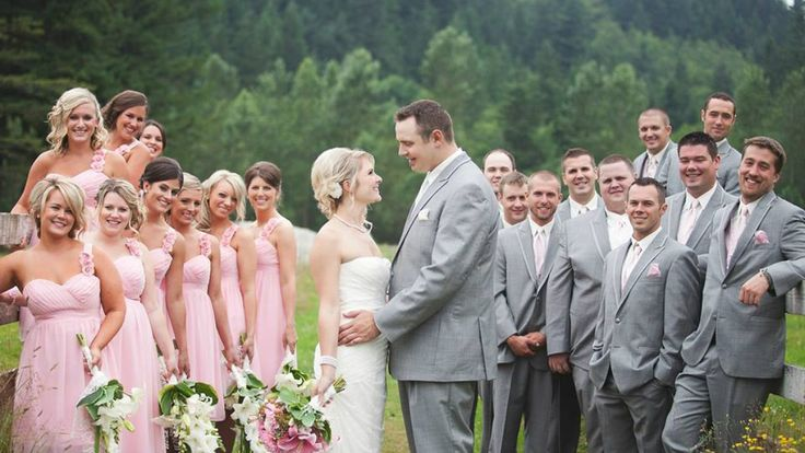 Wedding Large Group Party Pose Bride Groom