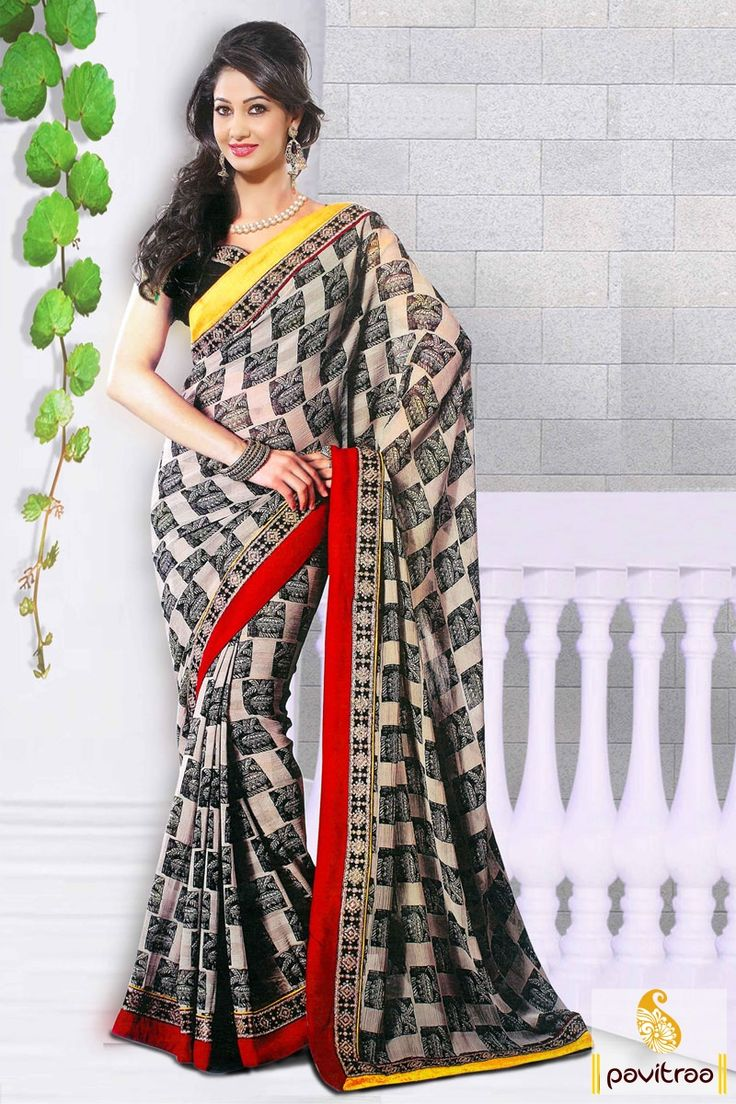 Utsav fashion shopping bag -  Black And Beige Lovely Printed Sarees