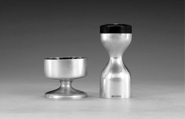 ROBERT WELCH: A silver peppemill and salt, Birmingham 1966 and 1965 respectively,