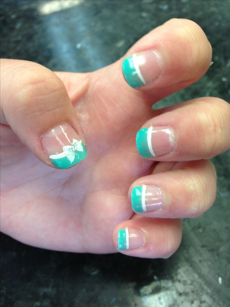 Shellac nails inspired Tiffany colors.: Nails Inspiration, Nails Art
