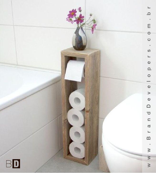 """Mais uma solução simples que pode ir pra categoria do """"DO IT YOURSELF"""" #doityourself #portapapelhigienico #design banheiro"""