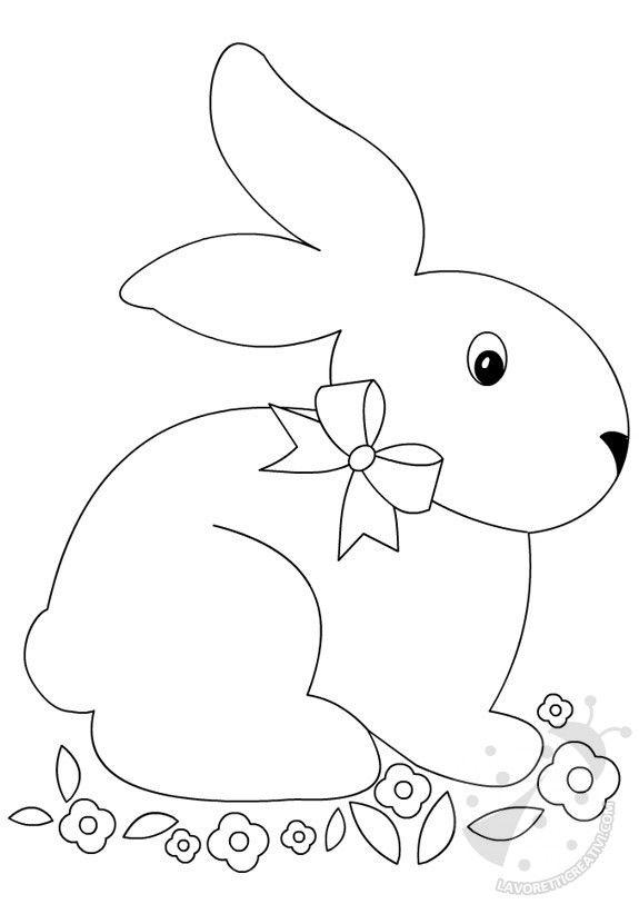 LAVORETTI DI PASQUA CON LA CARTA Coniglio con i fiori da realizzare con i cartoncini colorati e da attaccare nell'aula di scuola nel il periodo di Pasqua.