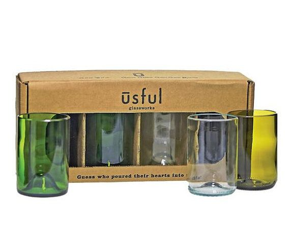 Set of 4 16oz drinking glasses in a variety of wine bottle colors