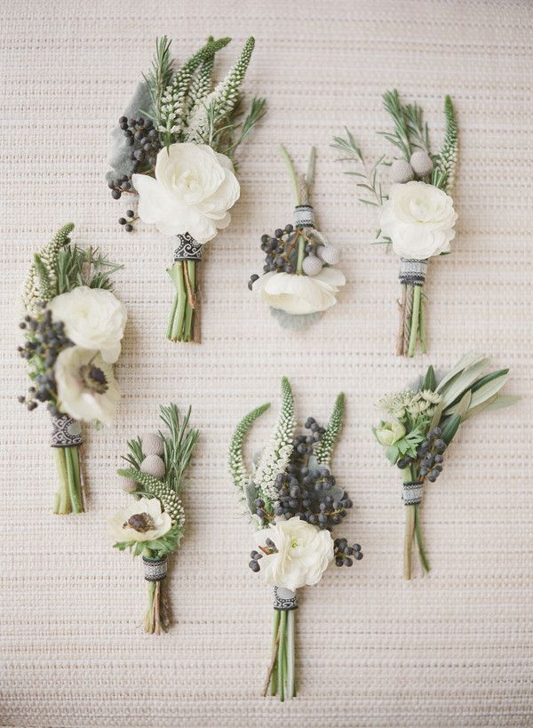 Pretty Boutonnieres for a simple earthy wedding theme.