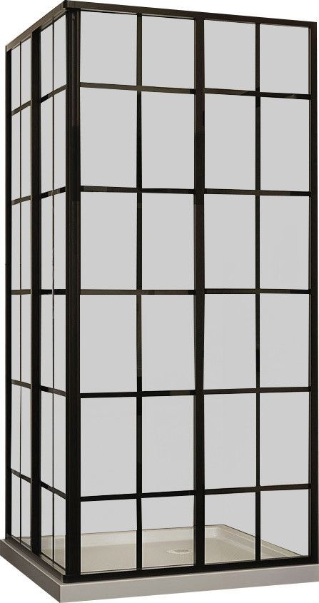 "French Corner 34.5 x 34.5"" D Sliding Shower Enclosure"