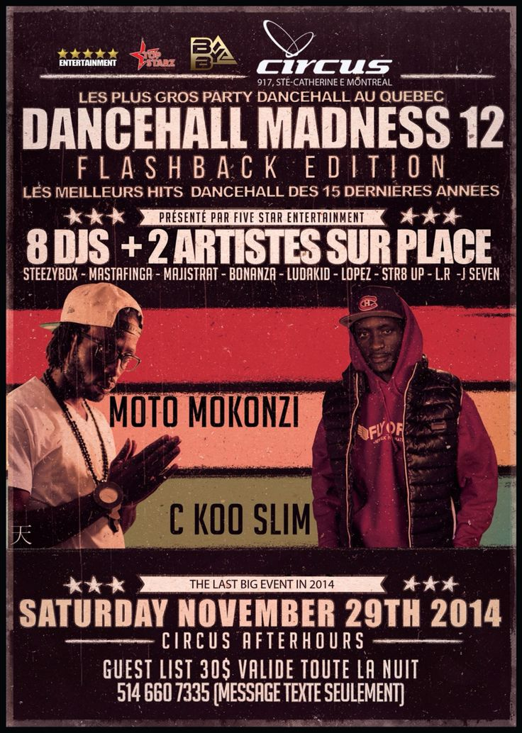Le plus gros party dancehall Au #Quebec DANCEHALL MADNESS 12  @Circus Afterhours View graphic for details. @MontrealUrban