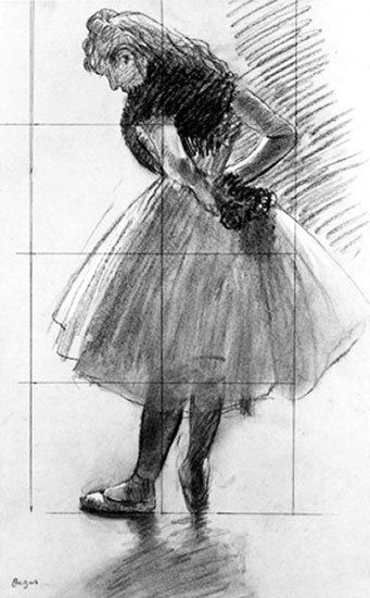 Dancer Tying Her Scarf by Edgar Degas, drawing. In plein air painting, we often forget the power of drawing.
