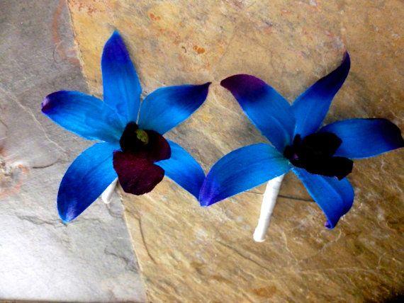 Orchidea blu viola fiore all'occhiello asola di DressMyWedding