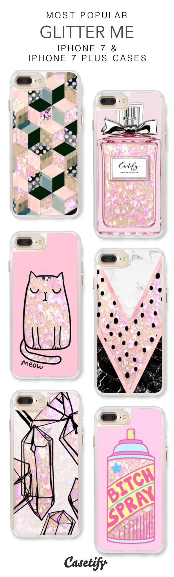 Most Popular Glitter Me iPhone 7 Cases & iPhone 7 Plus Cases. More glitter iPhone case here >  http://amzn.to/2spd3Ru
