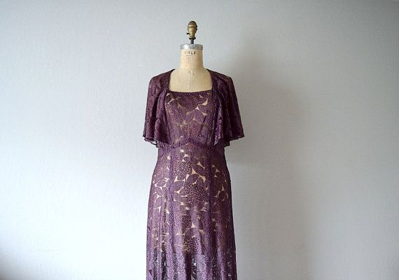 1930s lace dress . vintage 30s purple lace dress