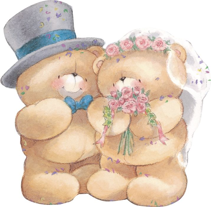 Свадебные открытки мишки