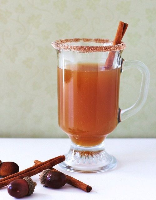 Cute Drink...maybe serve spiced apple cider or mulled wine...but serve them in little mason jars, still with the sugar coating and cinnamon stick
