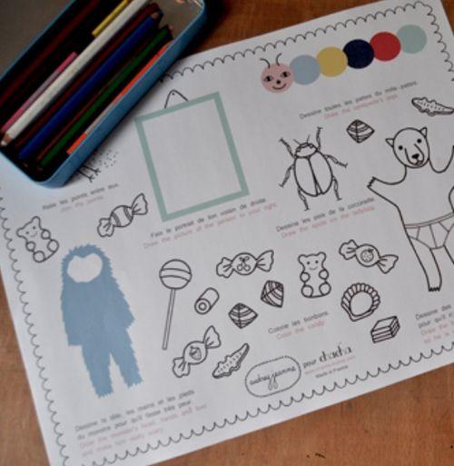 15 best images about table enfant on pinterest - Set de table a colorier pour mariage ...